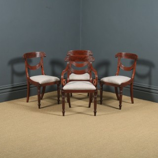 Antique English Georgian Regency Set of Four 4 Mahogany Trafalgar Dining Chairs (Circa 1820)