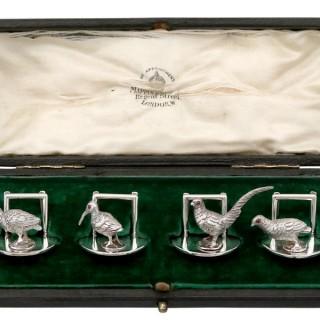 Sterling Silver Menu / Card Holders - Antique Edwardian (1907)