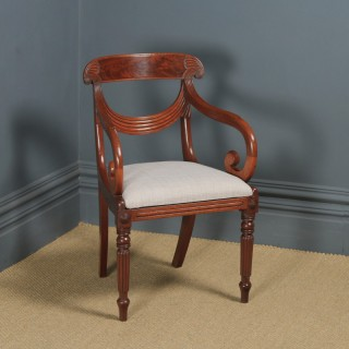 Antique English Georgian Regency Mahogany Trafalgar Open Office Desk / Dining Arm Chair (Circa 1820)