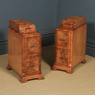 Antique English Pair of Art Deco Burr Walnut Bedside Chests Cabinets Tables Nightstands (Circa 1930)