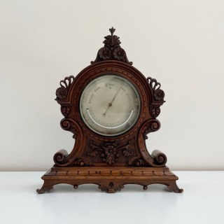 Mid-Victorian Aneroid Barometer in Carved Oak Case by J Hicks of London