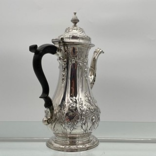 18th Century Antique George III Sterling Silver Rococo Coffee Pot London 1765 William & James Priest
