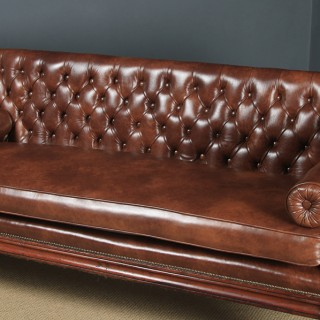 Antique English William IV Mahogany & Brown Leather Double Ended Couch / Settee / Sofa (Circa 1835)