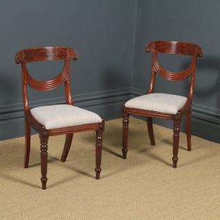 Antique English Georgian Regency Pair Two Mahogany Trafalgar Dining Chairs (Circa 1820)