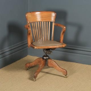 Antique English Edwardian Oak & Tan Brown Leather Revolving Office Desk Arm Chair (Circa 1910)
