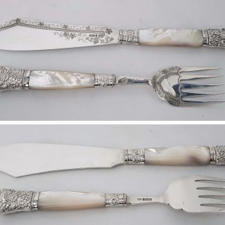 Antique Silver and Mother of Pearl Fish Servers