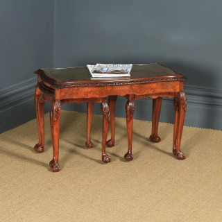 Antique English Queen Anne Style Nest of Three Carved Burr Walnut & Glass Coffee Tables (Circa 1920)