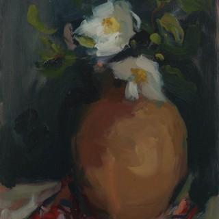 'Camellias in Terracotta Jug' by Serena Rowe (brn 1977)