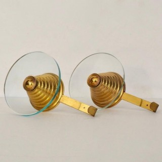 Pair of Gilt Metal and Glass Modernist Coat Hooks, Italy C. 1950