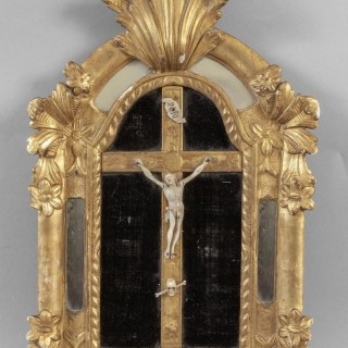 18th Century French Baroque Crucifix Cushion Mirror