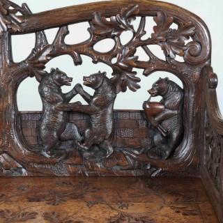 A Superb Carved 'Black Forest' Bench