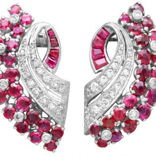 1.86ct Ruby and 0.55ct Diamond, 12ct White Gold Earrings - Antique Circa 1930