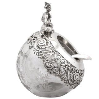 Glass and Spanish Silver Ashtray - Antique Circa 1890