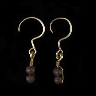 Western Asiatic Electrum Earrings with Metal Beads
