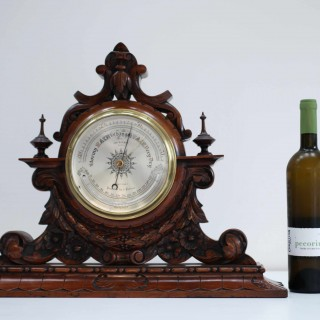 Large Victorian Aneroid Barometer in Carved Walnut Display by James Pitkin London