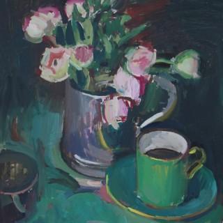 'Ranunculus and Green Coffee Cup' by Luke Martineau (born 1970)