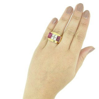 Mauboussin ruby and diamond cocktail ring, French, circa 1940.