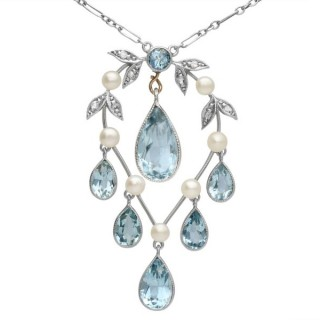 2.27ct Aquamarine, Diamond, Pearl and 14ct Yellow Gold Pendant - Antique Circa 1900