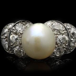 Natural pearl and diamond ring, circa 1920.