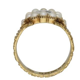 Georgian pearl and black enamel memorial ring, English, circa 1824.