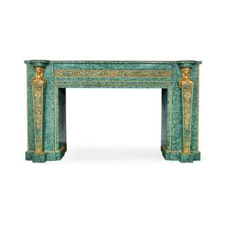 Large Neoclassical style gilt bronze and malachite fireplace
