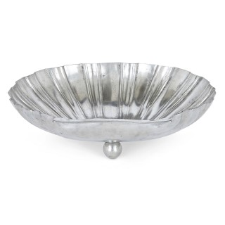 Italian scallop-shell shaped pewter fruit bowl
