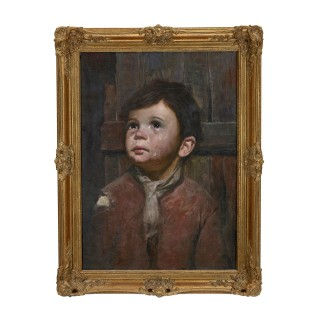 Pair of genre portrait paintings by Italian artist Giovanni Bragolin