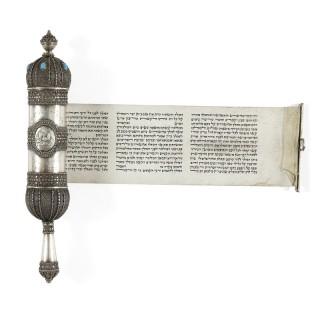Silver Megillah with filigree work by Bezalel Academy