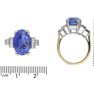 Art Deco Ceylon sapphire and diamond flanked solitaire ring, circa 1920.