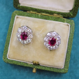A pair of Natural Ruby and Diamond Cluster Earrings in Platinum and 18ct White Gold, Circa 1950