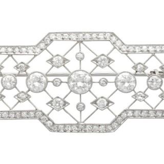 3.78ct Diamond and Platinum Brooch - Art Deco - Antique Circa 1920
