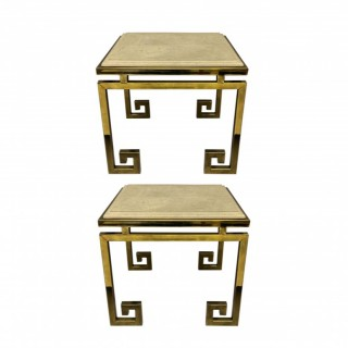 A PAIR OF FRENCH GREEK KEY END TABLES