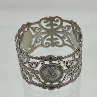 Early 20th Century Antique Edwardian Sterling Silver Set Six Napkin Rings London 1906 George Maudsley Jackson & David Fullerton