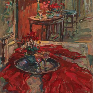 'Cyclamen with Red Cloth' by Susan Ryder RP NEAC (born 1944)