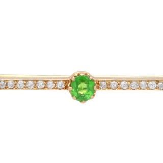 1.01ct Demantoid Garnet and 0.35ct Diamond, 14ct Rose Gold Bar Brooch - Antique Circa 1900