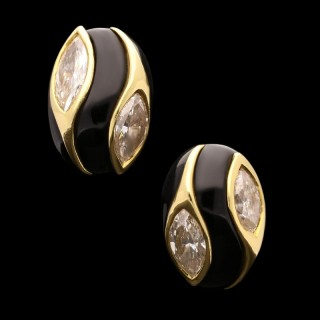 Cartier - Vintage Gold, Onyx and Marquise Diamond Earrings circa 1970s