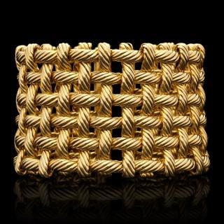 Hermes - 18ct Gold Flexible Open Basket Weave Cuff Bracelet