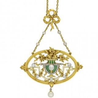 Art Nouveau diamond, pearl and enamel pendant/brooch by Gautrait, circa 1900.