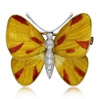 Yellow & Red Enamel and Diamond Butterfly Brooch by Boucheron prov. Earl Mountbatten