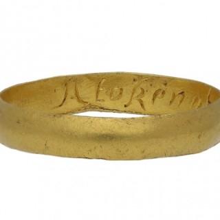 Gold posy ring, 'A token of my love', circa 1700.
