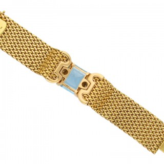 Aquamarine and diamond bracelet, circa 1945.