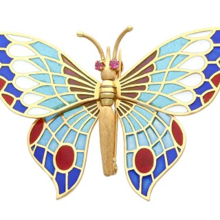 Plique-a-Jour and Ruby, 18ct Yellow Gold Butterfly Brooch - Vintage Spanish Circa 1970