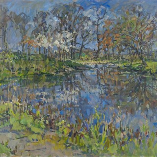 'Pond Reflections' by Susan Ryder RP NEAC (born 1944)