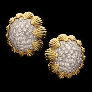 David Webb-  Vintage Gold and Pavé Diamond Ear Clips circa 1960s