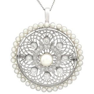1.38 ct Diamond and Seed Pearl, Platinum Pendant / Brooch - Antique Italian Circa 1900