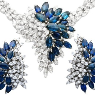 10.67ct Sapphire and 9.84ct Diamond, 15 ct White Gold Earring and Necklace Set - Vintage Circa 1970