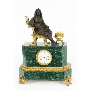 Antique Malachite Ormolu & Bronze Mantel Clock Silk Suspension Movement 19th C