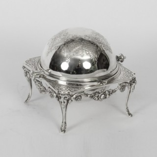 Antique English Silver Plated Roll Over Butter / Caviar Dish 19th Century