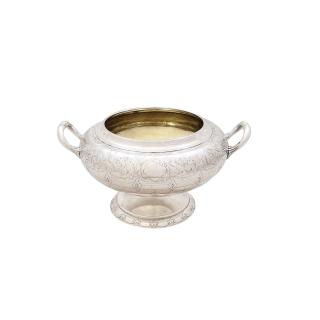 Antique Victorian Scottish Sterling Silver 2 Handle Bowl - 1859