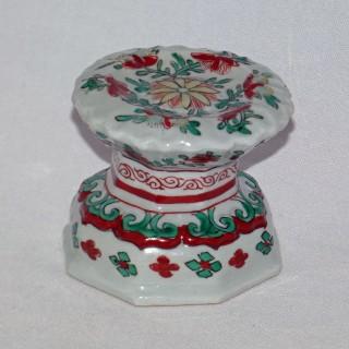 Chinese Wucai Transitional Molded Pedestal Salt